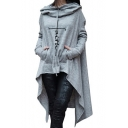 Unique Letter FAITH Pattern Long Sleeve High Low Hem Loose Cape Hoodie
