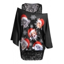 Unique Long Sleeve Round Neck Fake Two Piece Lace Patched Cartoon Cat Printed Black Tee for Women