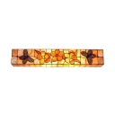 Beige Rectangle Wall Lamp Floral Shelly Tiffany Style 2 Light Wall Sconce in Beige