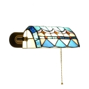 Aqua Geometric Wall Sconce Banker Tiffany Style Stained Glass Wall Lamp for Bedroom