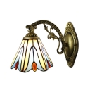 Tiffany Style Floral Wall Sconce Stained Glass Wall Light in Multicolor for Bungalow Corridor