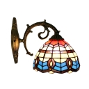Dome Wall Lamp Baroque Tiffany Style Stained Glass Wall Sconce in Multicolor for Staircase