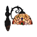 Traditional Tiffany Style Dome Wall Sconce Stained Glass Wall Light in Multicolor for Coffee Shop