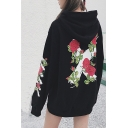 Cotton Long Sleeve Floral Printed Unisex Oversize Leisure Hoodie