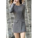 Retro Slim Zip Placket Long Sleeve Plain Tunics Coat
