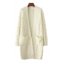 Fresh Soft Long Sleeve Cable Plain Open Front Knit Cardigan with Pockets