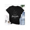 Unique Short Sleeve Round Neck Letter YOU'RE MY FAVORITE MUGGLE Printed Leisure Unisex Black Tee