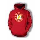 Stylish Long Sleeve Letter Printed Red Sports Hoodie for Guys