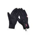 Unisex  Zip Embellished Outdoor Logo Patched Touchscreen Warm Windproof Gloves