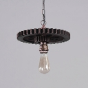 Industrial Gear Shape Hanging Light Weathered Steel Decorative Pendant Lamp with Chain