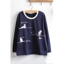 Leisure Long Sleeve Round Neck Cartoon Cat Printed Dark Blue T-Shirt