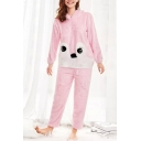 Stylish Long Sleeve Cartoon Printed Hoodie Pink Pajamas Co-ords