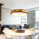 Brass Finish Ring LED Pendant Lights Post Modern Style Metal 1-Light Suspension Light for Bedroom Living Room