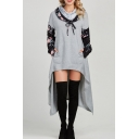 Trendy Floral Patchwork Long Sleeve Bow-Tied Collar Dipped Hem Longline Hoodie