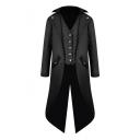 Men's Medieval Retro Solid Lapel Collar Long Sleeve Vest Patched Longline Tuxedo Coat