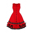 Retro Round Neck Sleeveless Button Front Bow-Tied Embellished Polka Dot Patched Midi Red Flared Dress