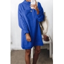 Fashion Big Pocket Patched Chest Mock Neck Long Sleeve Solid Loose Casual Mini Sweatshirt Dress