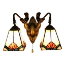 2 Head Geometric Wall Light with Mermaid Tiffany Stained Glass Wall Mount Fixture in White
