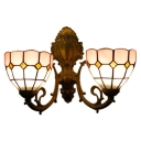 Pink/Yellow Bowl Wall Light Sconce Tiffany Style Stained Glass 2 Bulbs Wall Lighting