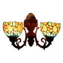 Sunflower Design Sconce Light Vintage Stained Glass 2 Heads Wall Light in Multi Color