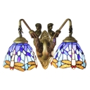 Navy Blue Dragonfly Wall Mount Light Tiffany 2 Heads Art Deco Wall Sconce for Coffee Shop
