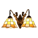 2 Heads Checkered Pattern Wall Light Tiffany Style Stained Glass Wall Sconce in Brown