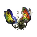 Tiffany Style Butterfly Wall Light Stained Glass 2 Heads Accent Wall Sconce in Blue/Orange