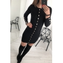 Black Button Round Neck Long Sleeve Knit Shift Mini Dress