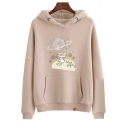 Chic Casual Long Sleeve Cartoon Cat Printed Loose Hoodie