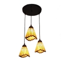 Adjustable Triple Head Geometric Drop Light Tiffany Style Mission Amber Glass Suspended Lamp