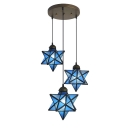 Star Ceiling Pendant Light Tiffany Modern Blue Glass Triple Hanging Lamp for Children Room