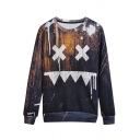 Trendy Black Face Print Round Neck Long Sleeves Pullover Sweatshirt