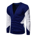 Gentlemen Fashion V-Neck Royal Blue and White Long Sleeve Slim Fit Button Closure Double Pockets Cardigan