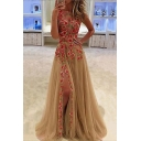 Hot Popular Round Neck Sleeveless Floral Embroidered Split Front Evening Party Maxi A-Line Apricot Dress