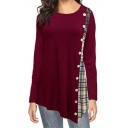 Fashionable Burgundy Round Neck Long Sleeves Plaids Patchwork Asymmetrical Hem Loose T-Shirt