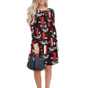 Pop Fashion Black Geo Print Round Neck Long Sleeve Mini Tee Dress