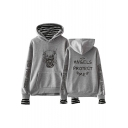 Unique Plush Long Sleeve Striped Letter Printed Fake Two Piece Hoodie