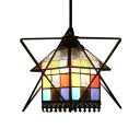 Multicolored House Suspension Light Tiffany Stained Glass 1 Light Drop Light with Iron Frame