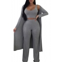 New Fashion Scoop Neck Sleeveless Tank Elastic Waist Pants with Open Front Coat Three Piece Plain Gray Co-ords