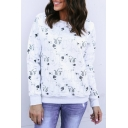 All Over Cartoon Cat Printed Round Neck Long Sleeve White Regular Fit Sweatshirt