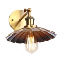 Single Bulb Shallow Round Wall Lamp Industrial Steel Lighting Fixture in Antique Brass