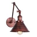 Single Light Swing Arm Wall Lamp Vintage Steel Decorative Wall Light Fixture in Rust