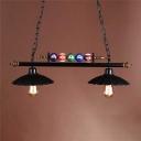 Loft Style Scalloped Hanging Lamp Iron 2 Head Island Chandelier in Black for Billiard