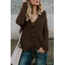 V Neck Long Sleeve Plain Lace Up Front Leisure Sweater