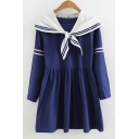 New Arrival Long Sleeve Navy Collar Striped A-Line Mini Dress