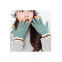 Unisex Warm Touch Screen Colorblock Outdoors Knit Gloves