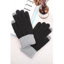 Men Winter New Trendy Colorblock Touch Screen Geometric Jacquard Gloves