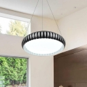 Hollow Design Round LED Hanging Ceiling Lights Modern Style Black Finish Pendant Light for Office