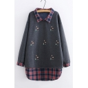 Fashion Check Patched Lapel Collar Long Sleeve Lovely Cartoon Embroidered Tunic Sweatshirt