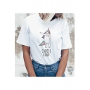 Funny Cartoon Unicorn Letter CHOOSE KIND Printed Short Sleeve Round Neck White T-Shirt